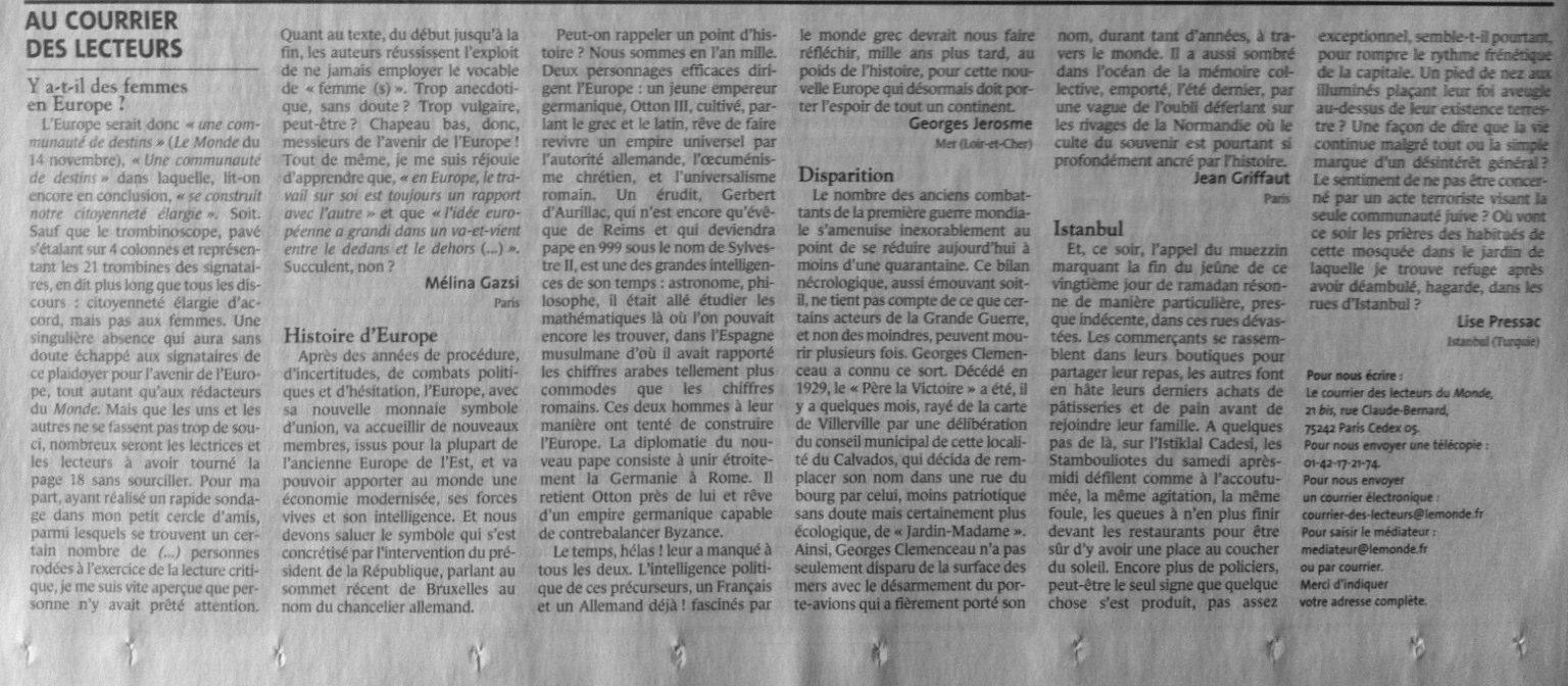 courrier des lecteurs monde 21 novembre 2003